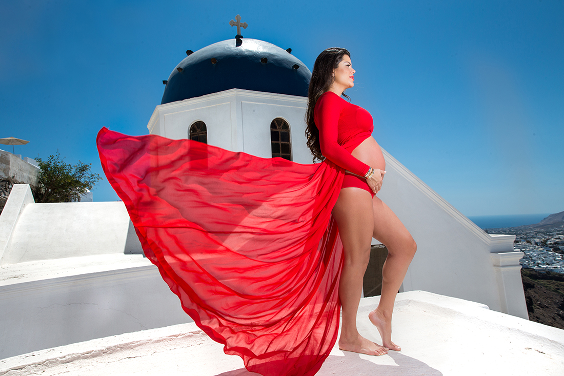 Santorini maternity photo shooting