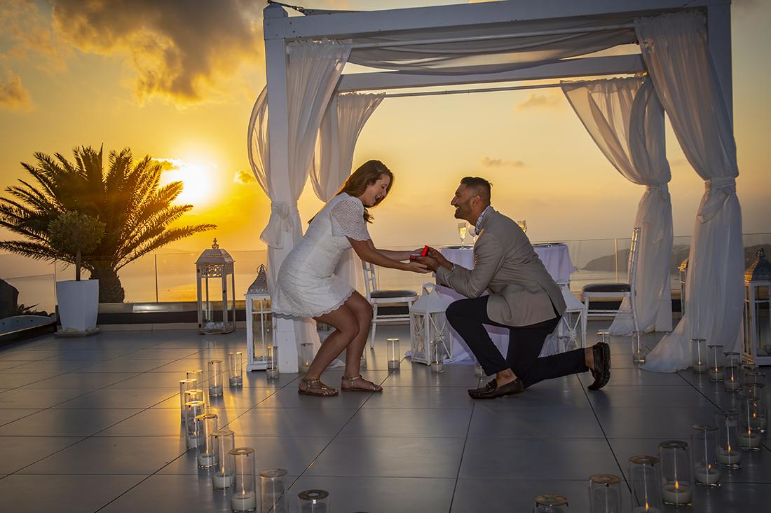 le ciel santorini wedding propose
